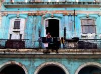 Man washing the cloth, Havana, Cuba