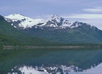 Karluk Lake and mountains