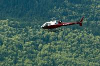 Helicopter over a forest