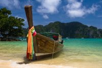 Boat and Paradise Beach, Thailand
