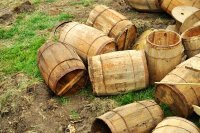 Old Wood Barrels Discarded
