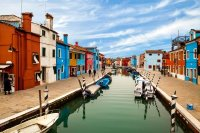 Canal In Burano, Italy