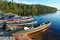 Colorful Canoes on Engozero Lake,Polar Karelia, Russia