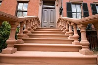 Red Sandstone Steps to Townhouse Door Washington DC, USA