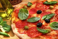 Pizza with Tomato and Basil
