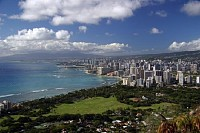 Skyline from Diamond Head Crater, Honolulu, Hawaii, USA