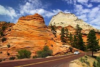 Scenic Drive in Zion National Park, Utah USA