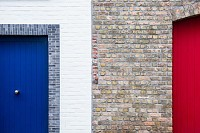 Brick Wall and Colorful Door