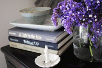 Nightstand with Pretty Purple Flowers