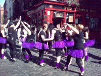 Purple Skirts Outside Temple Bar-London