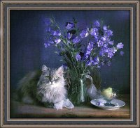 Flowers, Cat and Pear-Art