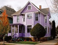 Purple House with Bowling Balls