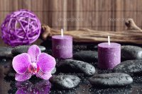 Orchid, Candles and Zen Stones