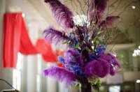 Centerpiece with Long Purple Feathers
