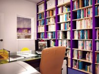 Office with Purple Bookshelves