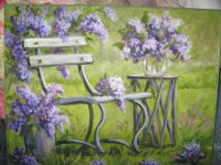 Spring Lilacs on Park Bench