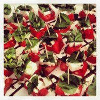 goat cheese, basil, and watermelon
