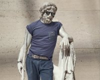 Classical sculptures dressed as hipsters look cont