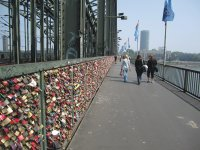 Love Locks on a Rhine Bridge in Cologne, Germany