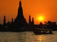 Wat ArunTemple and  Chao Phraya river  Bangkok