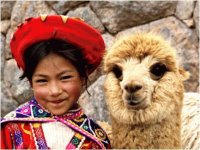 Child with Lama  Peru