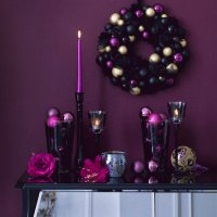 Purple Christmas Entry Table