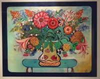 Painting from Jose Capricorne Flower on Blue Table