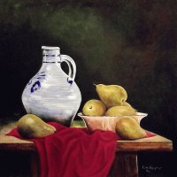 Still life with Pears and Pitcher
