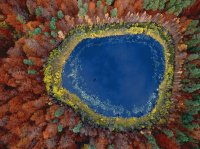 Autumn view from the air Lake Pomerania  Poland