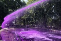 Protesters Shot with Purple Water Cannon-India