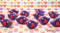 Purple Love Bird Valentine Cookies