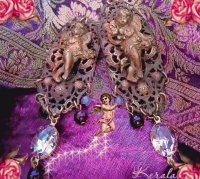 Antique Lilac Cherub Earrings