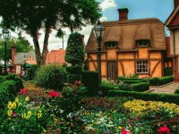 Flower Garden and Old House