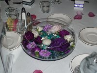 Centerpiece of Floating Purple Flowers