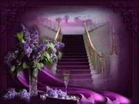 Staircase and Lilacs-Still Life Art