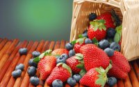 Basket with Blue and Strawberries