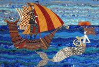 Sailor and Mermaid Mosaic by Irina Charny