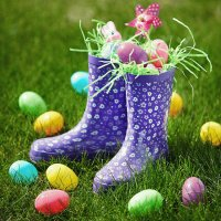 Flowery Rain Boots as an Easter Basket