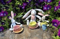 Easter Bunnies and Tea Cups in Pansy Garden