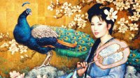 Geisha and Peacock