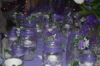 Mason Jars  with Floating Candles and Beads