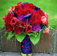 Vibrant Red and Purple Bouquet