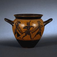 Drinking cup with battle scene  520BC  Greece