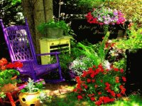 Rocking Chair in Pretty Garden