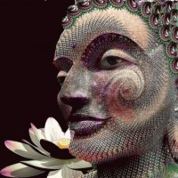 Digital Buddha and Lotus Flower