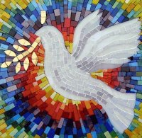 Mosaic with the Dove of peace