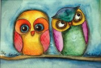 Adorable Owls painting