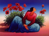 Poppies and Lady bij R.C Gorman  Navajo artist