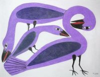 Artic Inuit art Purple Birds by Kenojuak Ashevak