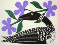 Loon with Purple Flowers by Kenojuak Ashevak